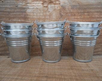 48 Mini Silver Tin Metal Pails, Favor Size, DIY Weddings, Favor Containers, Succulent Favor, Rustic