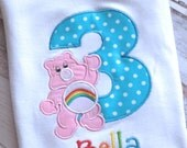 RUSH ORDER - TWO Personalized Birthday Number Care Bear Shirts Needed By June1