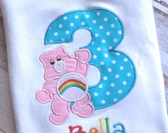 Personalized Birthday Number Care Bear Shirt or Onesie