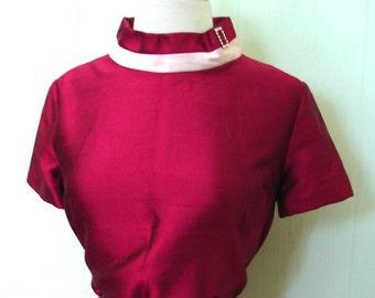 Vintage 1960s Dress Mod Cranberry Party Dress - 60s Fuschia Silk Dress with Rhinestone Collar Buckle M - on sale
