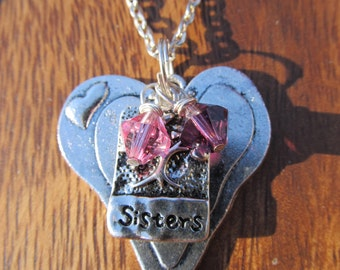 SISTERS PENDANT- Family Birthstone Charm necklace - Personalize Choose the birthstone crystals of your sisters -Great Valentines Day Gift