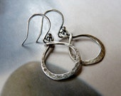 Rustic hammered silver earrings, wire wrapped earrings, handmade natural jewelry