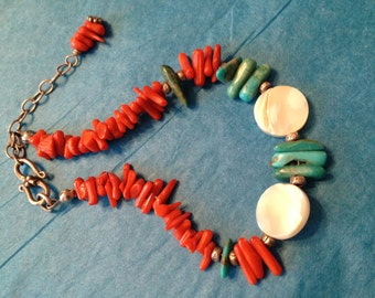 Coral Turquoise and Mother of Pearl Bracelet/Ankle Bracelet