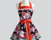 Ruffled Retro Apron - Woman Apron Love Hearts Red Black and Pink with Black Gingham Skirt Full Cute Kitchen Apron Personalize or Monogram