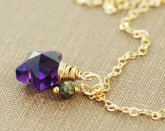 Purple Star Gemstone Gold Necklace, Amethyst Pyrite Wire Wrap, February Birthstone Jewelry