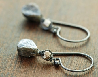 Organic Gray Stone Earrings in Sterling Silver, Chrysoprase Quartz Drop Earrings, Rustic Jewelry