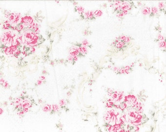 Yuwa Pink Rose Garlands Cotton Fabric  CR803945