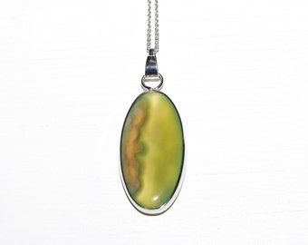 Light Green Moss - Silver Necklace