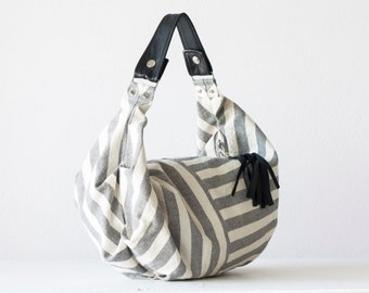 Small hobo bag, stripe purse grey and white bag handbag cotton purse everyday purse slouchy purse-Mini Kallia bag