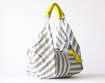 Hobo bag stripe cotton canvas, shoulder purse grey and white bag slouch bag large purse carryall bag - Kallia bag