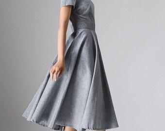 long gray dress - women long dress  maxi dress - custom made(972)