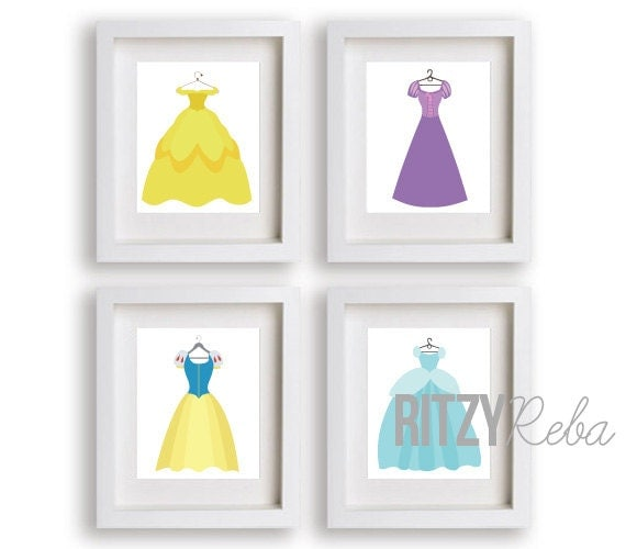 Adorable art prints of Disney princess dresses--perfect for a little girl's bedroom or play room!