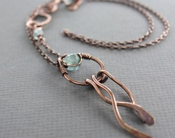 Wavy copper pendant  necklace in hoop design with wavy dangles and aquamarine stone with decorative hook clasp - Aquamarine necklace - NK005
