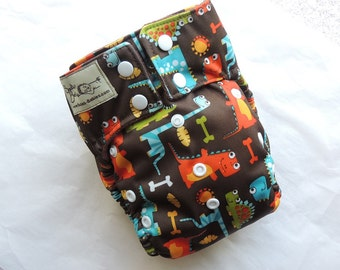 Brown Dinos All in One Cloth Diaper, Microfleece Inner