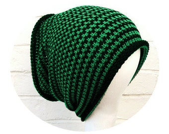Dreadlocks accessory, black green tube hat headband, wide knitted hair wrap.