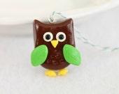Cute Owl Christmas Ornament, Polymer Clay Ornament