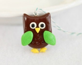 Cute Owl Christmas Ornament, Polymer Clay Ornament