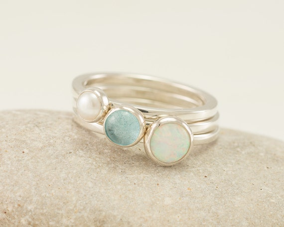 Stacking Rings- Silver Stacking Ring Set- Stack Rings- Stone Rings- Opal Ring, Pearl Ring, Blue Topaz Ring, Mothers Ring Stackable