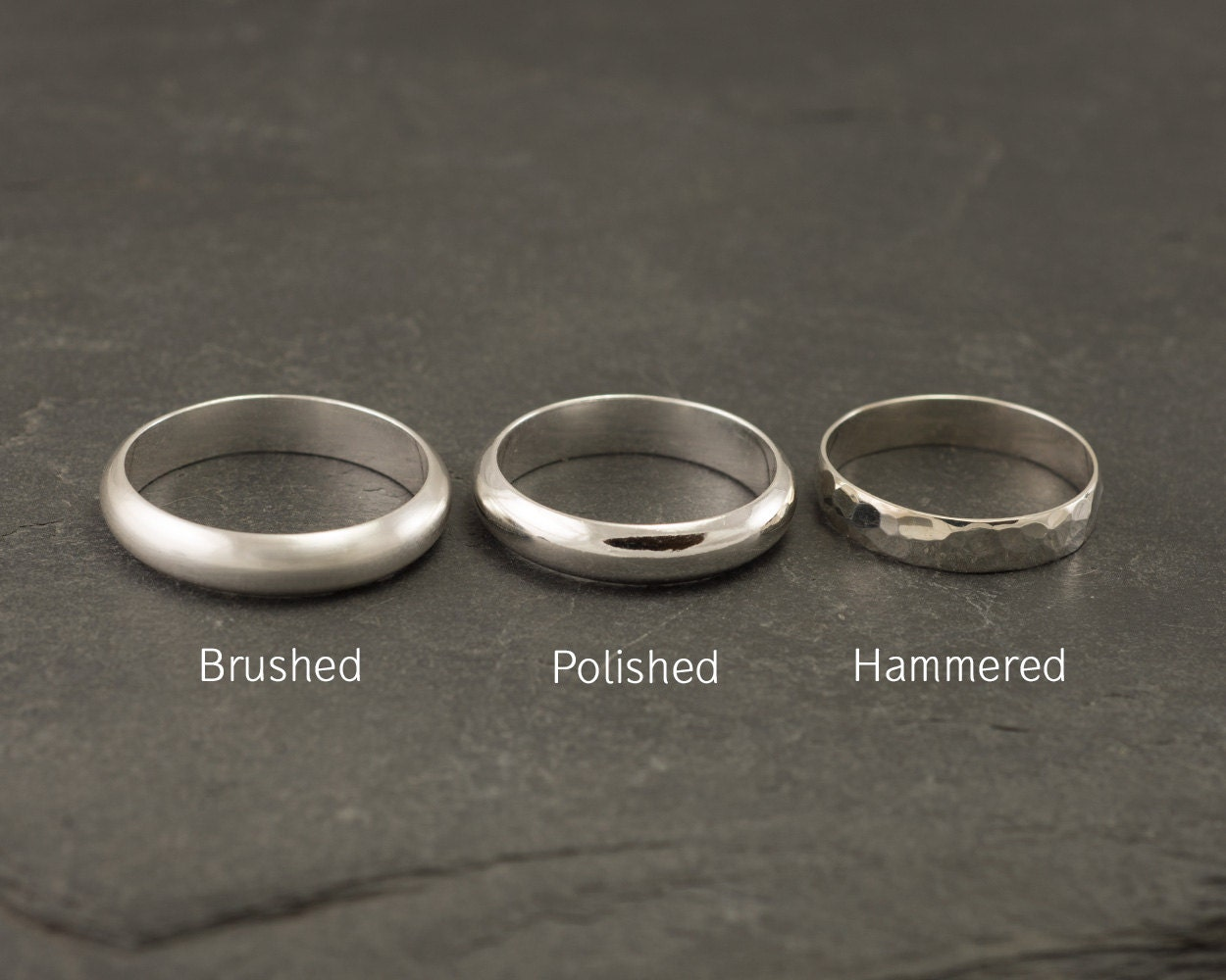 Wedding Band Set- Brushed Wedding Rings- Sterling Silver Wedding Bands- Wedding Ring Set- Silver Ring Band- Brushed Wedding Band