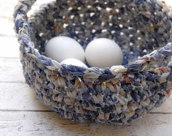 Easter crochet basket with handles, Handmade rustic blue basket, Eco Friendly Home Decor