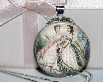 Southern Belles Pendant - Debutants - Round Necklace - Antebellum Ladies - Godeys Fashion - Art Pendant  - chain included - Sisters