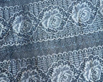 Antique Edwardian Art Deco Silver Metallic Lace Fabric Wide Stylized Floral Pattern French 1910-1920