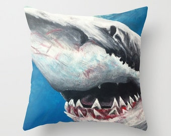 Great White Shark Throw Pillow Cover MADE to ORDER Shark Attack Shark Week