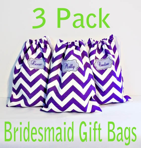 Bridesmaid Gift Bags, 3 Pack Personalized Shoe Bags, Matching Drawstring Bags, Bridesmaid Gifts, Makeup Bag, 48 Patterns to choose from,