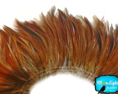 Rooster Feathers, 4 Inch Strip - NATURAL RED Strung Rooster Neck Hackle Feathers : 3549