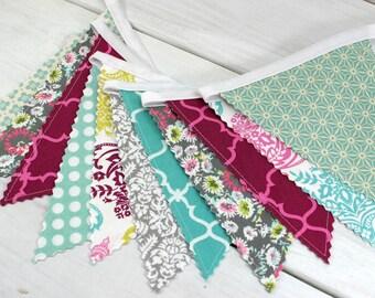 Bunting Fabric Banner, Fabric Flags, Girl Nursery Decor, Photography Prop  - Gray, Pink, Mint Green, Citron, Plum, Purple, Flowers, Damask