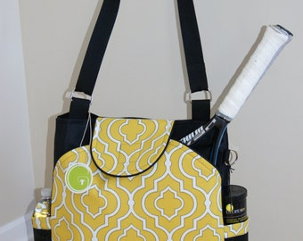 Large Tennis Bag with rounded pocket-Made to Order.