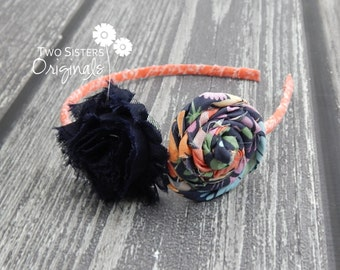 Fabric wrapped Shabby Flower Rosette Headband - Made to match any dress or tie in our shop