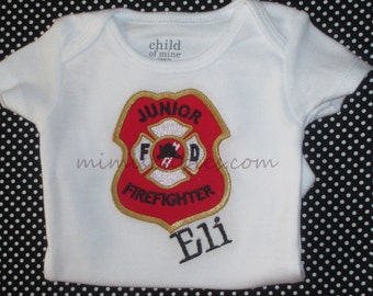 Baby Fireman One Piece   Boys Future Fireman,  Junior Firefighter