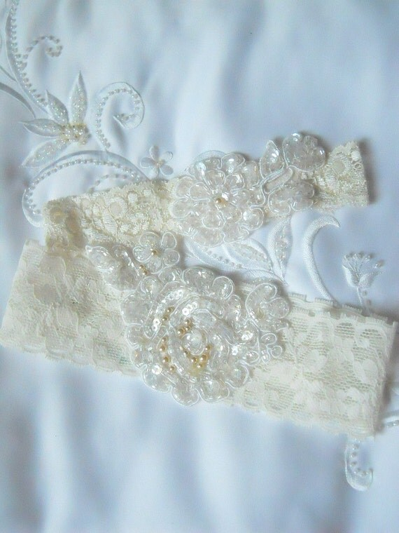 Ivory garter set in stretch lace with beautiful clear sequin and pearl applique with Vintage champagne pearls hand sewn