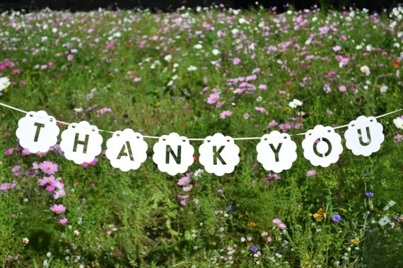 Floral thank you banner custom colour photo prop