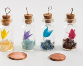 Pendant of origami paper lily flower in tiny glass bottle with natural stone chips -choose color and stones - MADE TO ORDER
