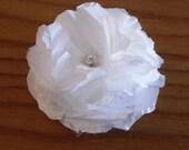 Three taffeta flower pins, hair clip set. white, wedding, bridal. FREE SHIPPING in the US