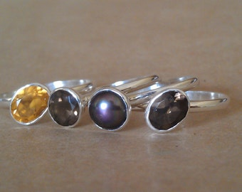 Stackable 4 Natural Gemstone and Sterling Silver Stack ring  Size 10 Citrine Smokey Quartz Black  Pearl