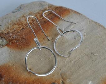Asymetric Circle Drop Earrings