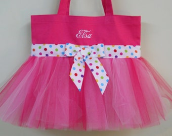 Embroidered Tote Bag - Hot Pink Tote Bag with Pink Tulle and Polka Dot Ribbon Tutu Tote Bag  TB19 BP