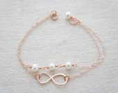 Rose gold  infinity bracelet with pearls- bridesmaids gift, wedding, modern, casual, everday, birthday gift