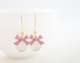 Ice pink gem and bow kidney wire earring, vintage wedding, bridesmaid, gift