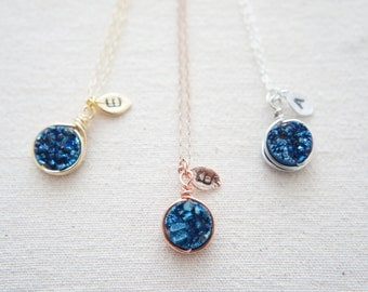 Wire Wrapped Blue Titanium Druzy Quartz necklace with a personalized leaf, rose gold, gold, silver, wedding, bridesmaid, layered necklace