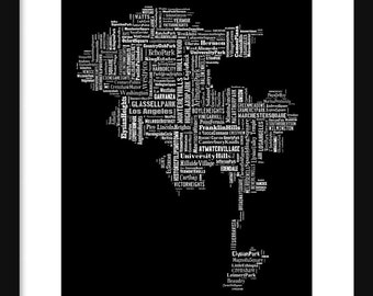 Los Angeles Map Typography Map Poster Print Black Tyographical Map