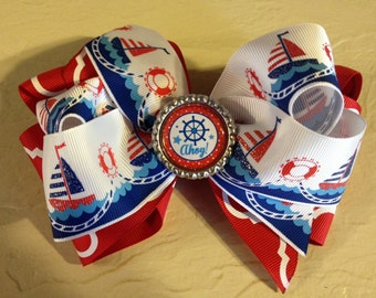 Extra Large Sail Boat Boutique Hair Bow