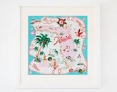 Vintage Florida Souvenir Map Print