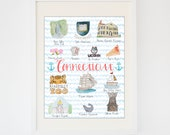 Original Connecticut State Art -- Watercolor Connecticut Print -- State Souvenir
