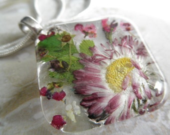 English Daisy Domed Square Glass Pressed Flower Pendant w/Alyssum, Queen Anne's Lace-Gifts Under 30-Nature's Art-Symbolizes Loyal Love