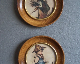 Vintage Hummel Style Wall Decor, Boy and Girl Wood Wall Art Set of 2