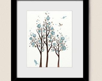 Blue and Brown Polka Dot Tree Art Print, Flying Bird Wall Decor, 11 x 14 Home Decor (297)
